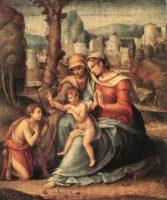 聖母子とエリザベト、洗礼者聖ヨハネ(バッキアッカ画)