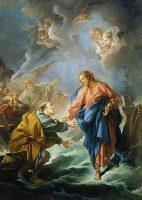 水の上を歩こうとする聖ペトロ(フランソワ・ブーシェ画)