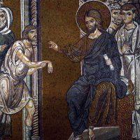 手の萎えた男の癒し(イタリア・モンレアーレ司教座聖堂のモザイク画)