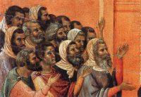 キリストを訴えるファリサイ人(ドゥッチョ・ディ・ブオニンセーニャ画)(部分)