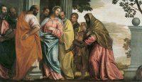 キリスト、ゼベダイの妻と息子たちと会う(パオロ・ヴェロネーゼ画)