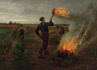 小麦畑での毒麦の焼却(ジュール・ブルトン画)